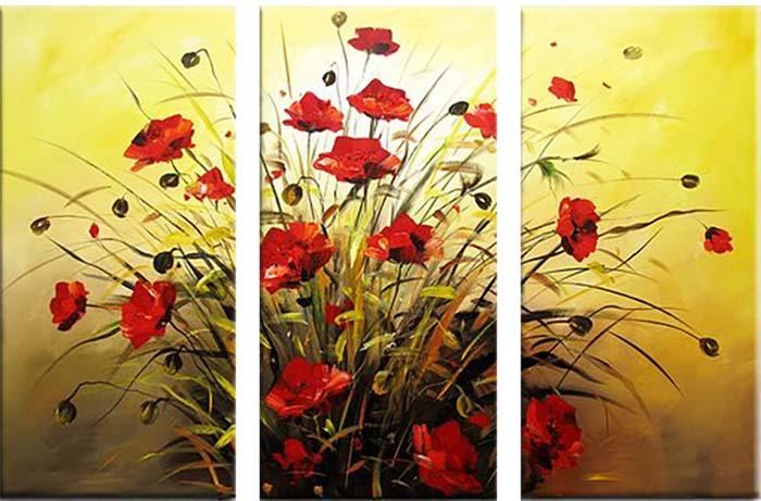 Картина Арт78 Маки, модульная, 120 х 90 см. арт780068-2арт780068-2Ничто так не облагораживает интерьер, как хорошая картина. Особенную атмосферу создаст крупное художественное полотно, размеры которого более метра. Подобные произведения искусства, выполненные в традиционной технике (холст, масляные краски), чрезвычайно капризны: требуют сложного ухода, регулярной реставрации, особого микроклимата – поэтому они просто не могут существовать в условиях обычной городской квартиры или загородного коттеджа, и требуют больших затрат. Данное полотно идеально приспособлено для создания изысканной обстановки именно у Вас. Это полотно создано с использованием как традиционных натуральных материалов (холст, подрамник - сосна), так и материалов нового поколения – краски, фактурный гель (придающий картине внешний вид масляной живописи, и защищающий ее от внешнего воздействия). Благодаря такой композиции, картина выглядит абсолютно естественно, и отличить ее от традиционной техники может только специалист. Но при этом изображение отлично...