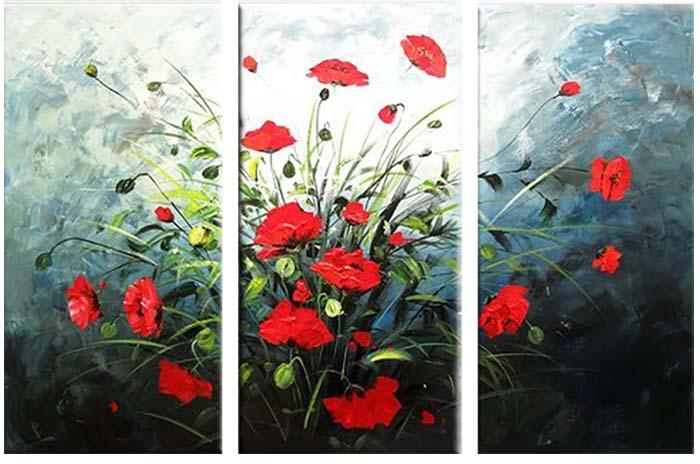 Картина Арт78 Маки, модульная, 80 х 60 см. арт780070-3арт780070-3Ничто так не облагораживает интерьер, как хорошая картина. Особенную атмосферу создаст крупное художественное полотно, размеры которого более метра. Подобные произведения искусства, выполненные в традиционной технике (холст, масляные краски), чрезвычайно капризны: требуют сложного ухода, регулярной реставрации, особого микроклимата – поэтому они просто не могут существовать в условиях обычной городской квартиры или загородного коттеджа, и требуют больших затрат. Данное полотно идеально приспособлено для создания изысканной обстановки именно у Вас. Это полотно создано с использованием как традиционных натуральных материалов (холст, подрамник - сосна), так и материалов нового поколения – краски, фактурный гель (придающий картине внешний вид масляной живописи, и защищающий ее от внешнего воздействия). Благодаря такой композиции, картина выглядит абсолютно естественно, и отличить ее от традиционной техники может только специалист. Но при этом изображение отлично...