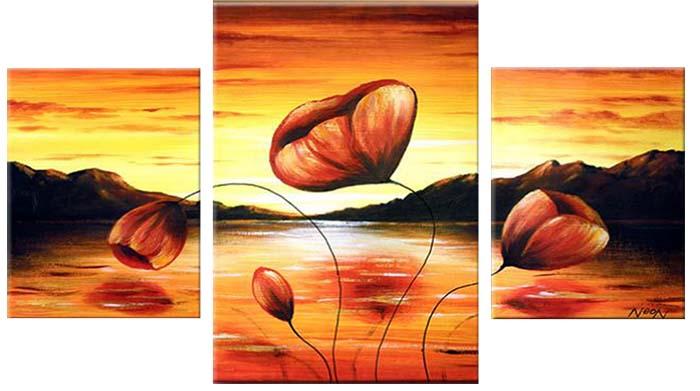 Картина Арт78 Маки, модульная, 130 х 80 см. арт780077-2арт780077-2Ничто так не облагораживает интерьер, как хорошая картина. Особенную атмосферу создаст крупное художественное полотно, размеры которого более метра. Подобные произведения искусства, выполненные в традиционной технике (холст, масляные краски), чрезвычайно капризны: требуют сложного ухода, регулярной реставрации, особого микроклимата – поэтому они просто не могут существовать в условиях обычной городской квартиры или загородного коттеджа, и требуют больших затрат. Данное полотно идеально приспособлено для создания изысканной обстановки именно у Вас. Это полотно создано с использованием как традиционных натуральных материалов (холст, подрамник - сосна), так и материалов нового поколения – краски, фактурный гель (придающий картине внешний вид масляной живописи, и защищающий ее от внешнего воздействия). Благодаря такой композиции, картина выглядит абсолютно естественно, и отличить ее от традиционной техники может только специалист. Но при этом изображение отлично...