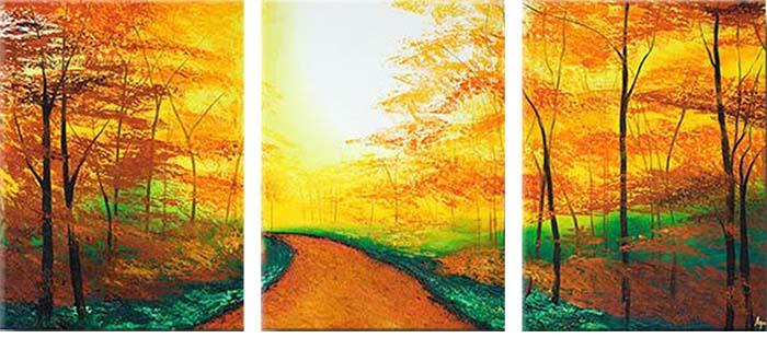 Картина Арт78 Тропа, модульная, 90 х 50 см. арт780081-3арт780081-3Ничто так не облагораживает интерьер, как хорошая картина. Особенную атмосферу создаст крупное художественное полотно, размеры которого более метра. Подобные произведения искусства, выполненные в традиционной технике (холст, масляные краски), чрезвычайно капризны: требуют сложного ухода, регулярной реставрации, особого микроклимата – поэтому они просто не могут существовать в условиях обычной городской квартиры или загородного коттеджа, и требуют больших затрат. Данное полотно идеально приспособлено для создания изысканной обстановки именно у Вас. Это полотно создано с использованием как традиционных натуральных материалов (холст, подрамник - сосна), так и материалов нового поколения – краски, фактурный гель (придающий картине внешний вид масляной живописи, и защищающий ее от внешнего воздействия). Благодаря такой композиции, картина выглядит абсолютно естественно, и отличить ее от традиционной техники может только специалист. Но при этом изображение отлично...