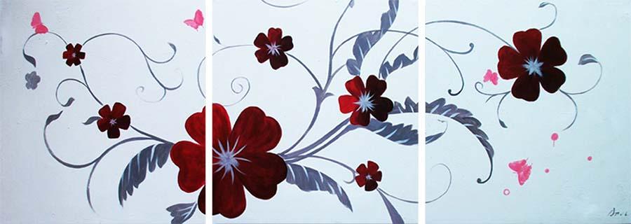 Картина Арт78 Красные цветы, модульная, 90 х 50 см. арт780101-3арт780101-3Ничто так не облагораживает интерьер, как хорошая картина. Особенную атмосферу создаст крупное художественное полотно, размеры которого более метра. Подобные произведения искусства, выполненные в традиционной технике (холст, масляные краски), чрезвычайно капризны: требуют сложного ухода, регулярной реставрации, особого микроклимата – поэтому они просто не могут существовать в условиях обычной городской квартиры или загородного коттеджа, и требуют больших затрат. Данное полотно идеально приспособлено для создания изысканной обстановки именно у Вас. Это полотно создано с использованием как традиционных натуральных материалов (холст, подрамник - сосна), так и материалов нового поколения – краски, фактурный гель (придающий картине внешний вид масляной живописи, и защищающий ее от внешнего воздействия). Благодаря такой композиции, картина выглядит абсолютно естественно, и отличить ее от традиционной техники может только специалист. Но при этом изображение отлично...