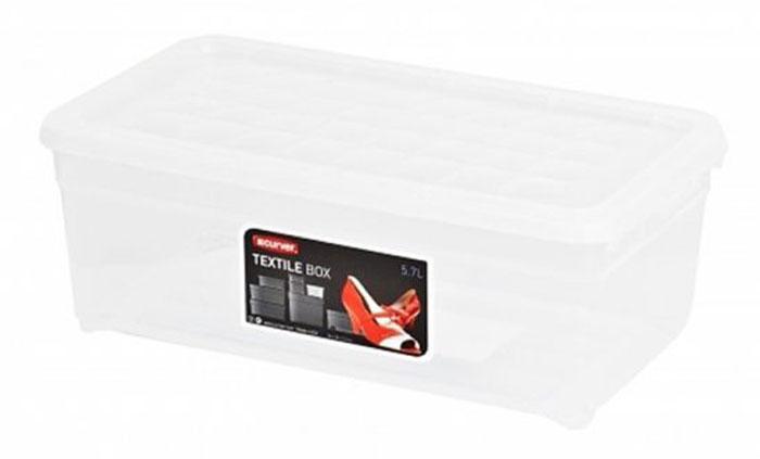 Контейнер для хранения Curver Textile, цвет: прозрачный, 5,7 л. 03003-001-0003003-001-00Контейнер для хранения Curver Textile, выполненный из прочного прозрачного пластика, предназначен для хранения различных вещей. Крышка легко открывается и плотно закрывается с помощью легкого щелчка. Контейнер поможет хранить все в одном месте, а также защитить вещи от пыли, грязи и влаги.