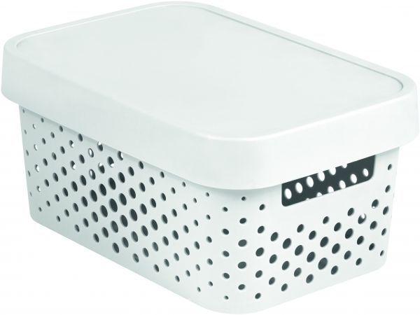 Коробка для хранения Curver Infinity, с крышкой, цвет: белый, 4,5 л04760-N23-00Коробка для хранения мелочей Curver Infinity выполнена из высококачественного пластика. Специальные отверстия на стенках создают идеальные условия для проветривания. Изделие оснащено крышкой и двумя эргономичными ручками для переноски. Коробка Curver очень вместительна и поможет вам хранить все необходимые мелочи в одном месте. Объем коробки: 4,5 л. Размер коробки (с учетом крышки): 26 х 17,5 х 12,5 см.