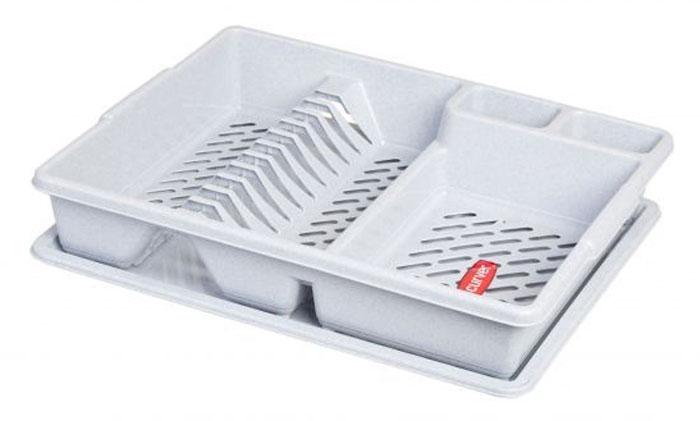 Сушилка для посуды Curver, с поддоном, цвет: светло-серый, 47 х 38 х 8,5 см13401-119Сушилка для посуды Curver изготовлена из высококачественного прочного пластика. Изделие оснащено пластиковым поддоном для стекания воды и содержит секции для вертикальной сушки посуды и столовых приборов. Такая сушилка не займет много места на кухне и поможет аккуратно хранить вашу посуду. Размер сушилки: 47 х 38 х 8,5 см. Размер поддона: 47 х 38 х 1,8 см.