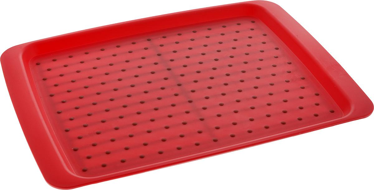 Поднос Zeller, 35 х 26 см26677Оригинальный поднос Zeller, изготовленный из прочного пищевого пластика, станет незаменимым предметом для сервировки стола. Изделие снабжено специальными прорезиненными вставками, которые предотвращают скольжение посуды. Основание подноса также имеет резиновые вставки. Для удобства переноски предусмотрены удобные ручки. Такой поднос станет полезным и практичным приобретением для вашей кухни.