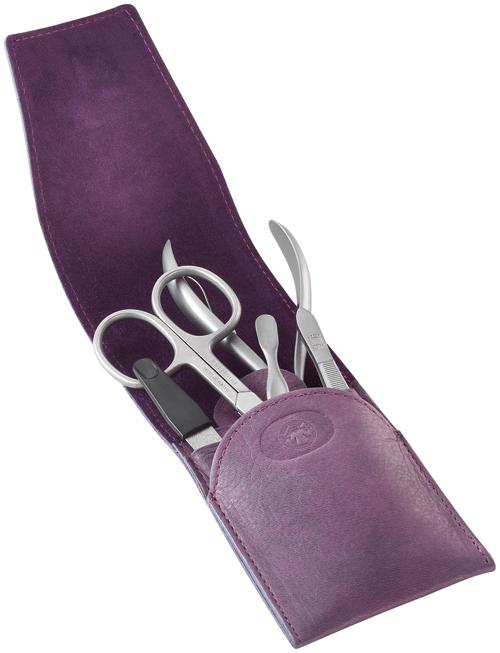 Маникюрный набор Dovo, 5 предметов. Футляр: натур.кожа (вол), цвет фиолетовый + ПОДАРОК 5100-BK VT Портмоне S.Quire, натуральная воловья