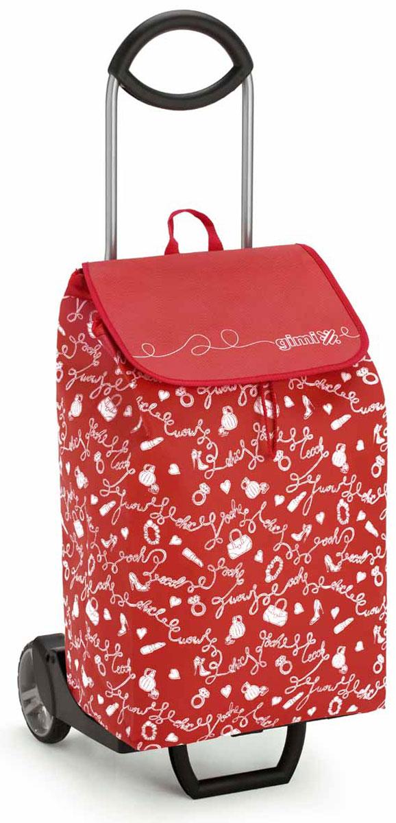 Сумка-тележка Gimi Easy, цвет: красный. 1518860800000IR-F1-WХозяйственная сумка-тележка с каркасом из стали/жестких смол, сумка выполнена из нетканой ткани.Сумка водоустойчивая, закрывается на кулиску. С удобной подставкой для зонтика. Без сумки изделие превращается в универсальную тележку. Made in Italy.