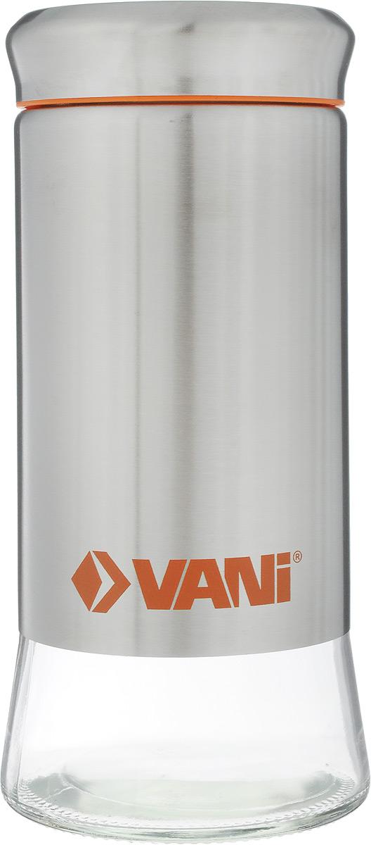 Банка для хранения сыпучих продуктов VANI, 900 млV9006Банка VANI изготовлена из стекла с обрамлением из нержавеющей стали. Емкость снабжена крышкой из пластика и нержавеющей стали с силиконовым уплотнителем, которая плотно закрывается, дольше сохраняя аромат и свежесть содержимого. Банка подходит для хранения сыпучих продуктов: круп, специй, сахара, соли. Такая банка станет полезным приобретением и пригодится на любой кухне. Она сохраняет прекрасный внешний вид даже после многолетнего использования. Во избежание повреждений поверхности не используйте для мытья металлические губки, абразивные материалы, хлор и кислотосодержащие очистители. Диаметр (по верхнему краю): 7,5 см. Высота (без учета крышки): 19,5 см.