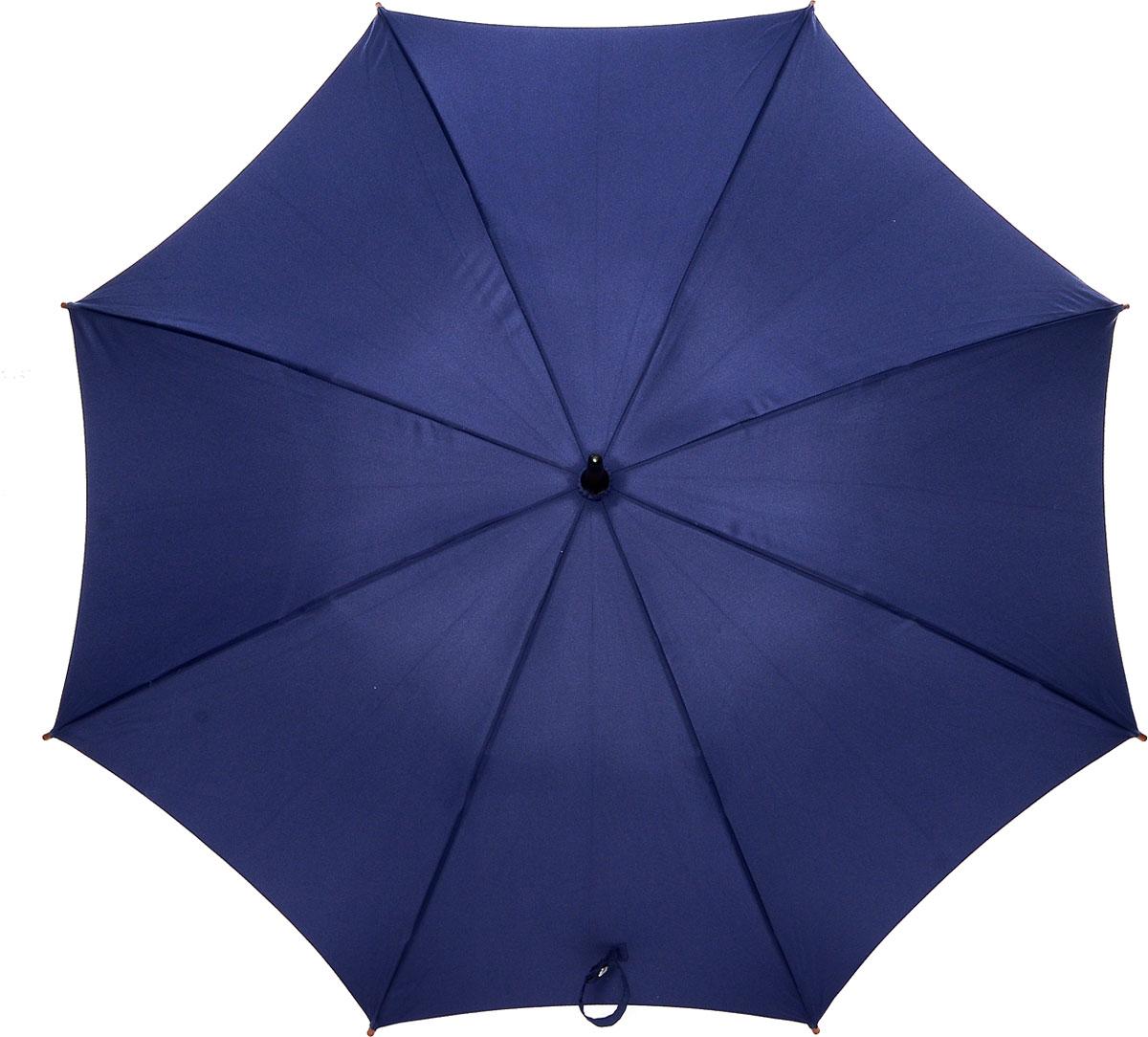 Зонт-трость женский Fulton Kensington, механический, цвет: темно-синий. L776-03345100948B/32793/5900NМодный механический зонт-трость Fulton Kensington даже в ненастную погоду позволит вам оставаться стильной и элегантной. Каркас зонта состоит из 8 спиц и стержня из фибергласса. Купол зонта выполнен из прочного полиэстера. Изделие оснащено удобной рукояткой из дерева.Зонт механического сложения: купол открывается и закрывается вручную до характерного щелчка.Модель закрывается при помощи двух хлястиков на кнопках.Такой зонт не только надежно защитит вас от дождя, но и станет стильным аксессуаром, который идеально подчеркнет ваш неповторимый образ.