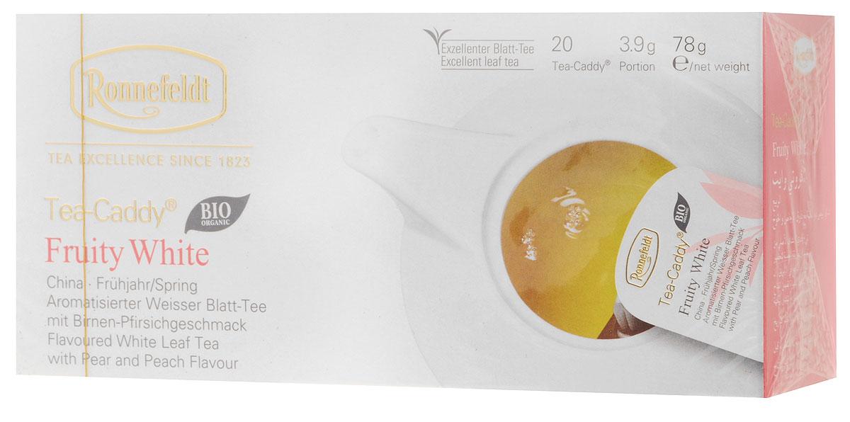 Ronnefeldt белый чай со вкусом груши и персика в пакетиках для чайника, 20 шт13170Удачная композиция с типичной сладостью груши и нотками спелого персика придает этому белому чаю освежающий фруктовый вкус. Этот чай по качеству и вкусу соответствует листовому чаю - ведь это и есть листовой чай, но уже порционированный для чайника. Чайные листья находятся в индивидуальном просторном пакетике, где они могут полностью раскрыться и превратить напиток в истинное наслаждение.