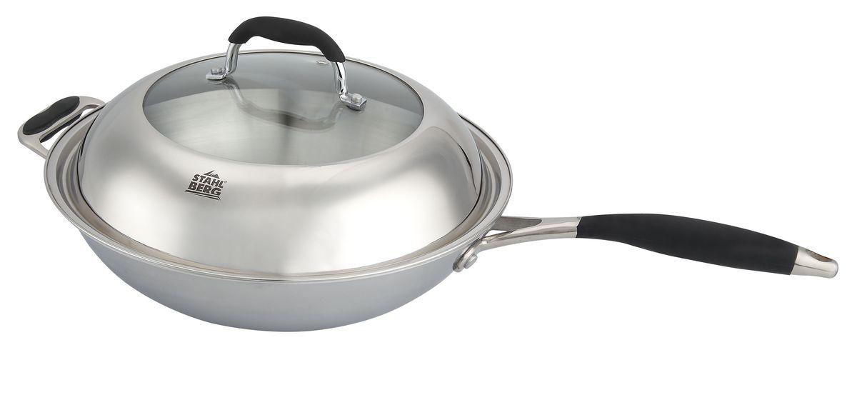 "Сковорода-вок Stahlberg ""Loretta"", с крышкой, диаметр 32 см"