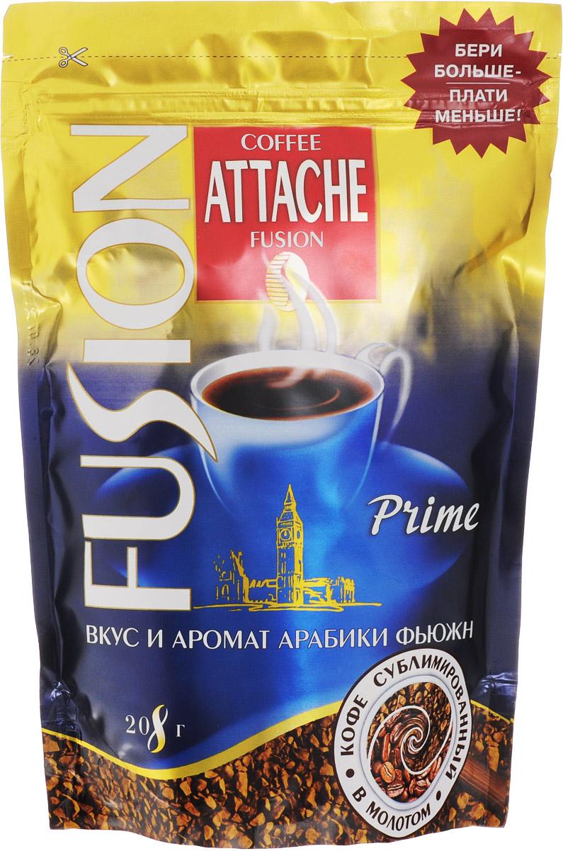 Attache Fusion Prime кофе растворимый, 208 г0120710Растворимый кофе Attache Fusion Prime - это уникальное слияние двух видов кофе - растворимого кофе и молотого. Уникальная технология напыления свежей натуральной Арабики тонкого помола на кристаллы растворимого кофе. В одном продукте скорость и удобство заваривания растворимого и живой аромат натурального кофе.