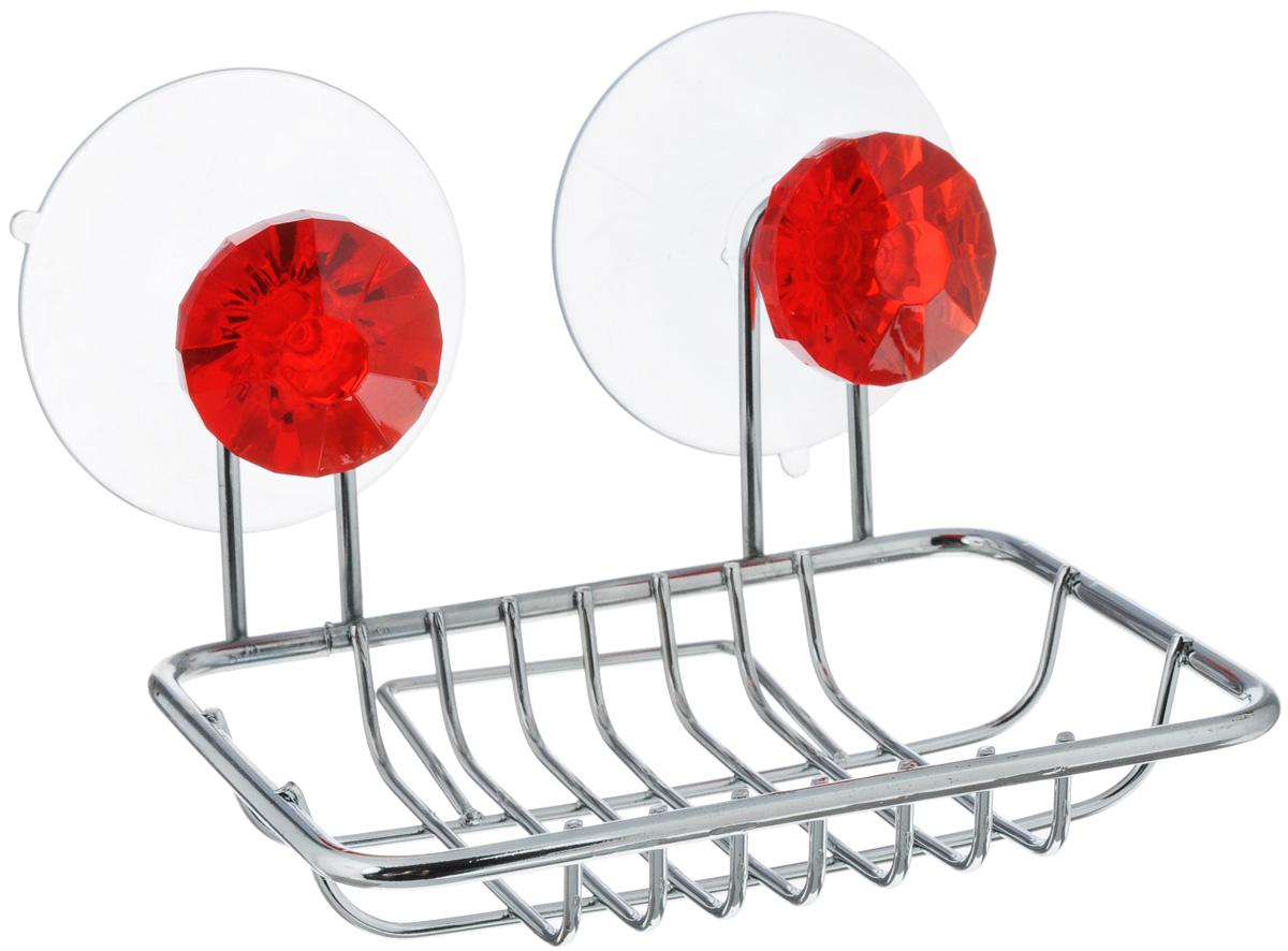 Мыльница Top Star Kristall, подвесная, на присосках, цвет: красный, стальной280882_красныйМыльница Top Star Kristall изготовлена из хромированной стали. Изделие крепится к стене при помощи двух присосок. Такая мыльница прекрасно подойдет для ванной комнаты или кухни.