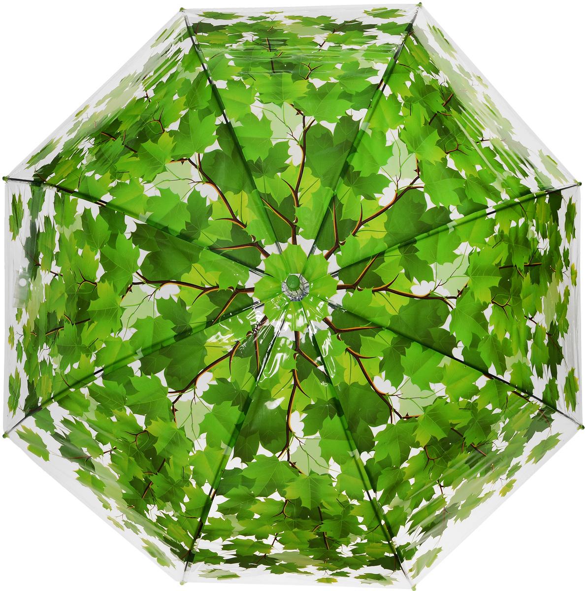 Зонт женский Эврика Листья, цвет: зеленый. 965663.7-12 navyЗонт-трость Эврика выполнен из прозрачного полиэтилена и оформлен принтом в виде кленовых листьев.Благодаря своему изяществу и утонченности орнамента он способен украсить даже самый пасмурный день. Лёгкий, практичный зонт-полуавтомат послужит верным спутником дамы, желающей выглядеть стильно в любую погоду.