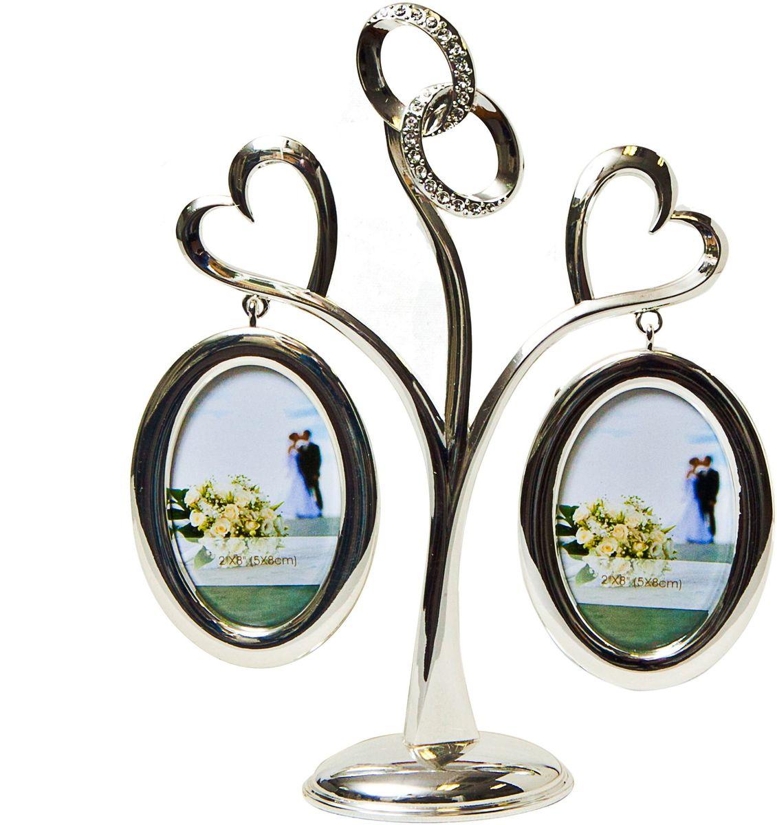 """Фоторамка Platinum """"Дерево. Сердца с кольцами"""", цвет: светло-серый, на 2 фото, 5 x 8 см. PF10021A 2 фоторамки на дереве PF10021A"""