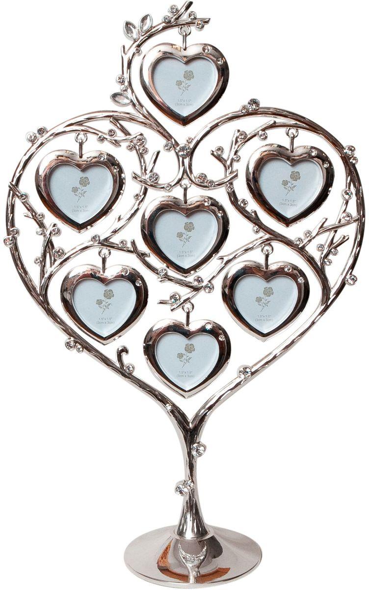 Фоторамка Platinum Дерево. Сердца, цвет: светло-серый, на 7 фото, 4 x 4 см. PF103057 фоторамок на дереве PF10305Декоративная фоторамка Platinum Дерево. Сердца выполнена из металла. На подставку в виде деревца подвешиваются семь фоторамок в форме сердец. Фоторамка украшена стазами. Изысканная и эффектная, эта потрясающая рамочка покорит своей красотой и изумительным качеством исполнения. Фоторамка Platinum Дерево. Сердца не только украсит интерьер помещения, но и поможет разместить фото всей вашей семьи. Высота фоторамки: 31,5 см. Фоторамка подходит для фотографий 4 х 4 см. Общий размер фоторамки: 20 х 4,5 х 31,5 см.