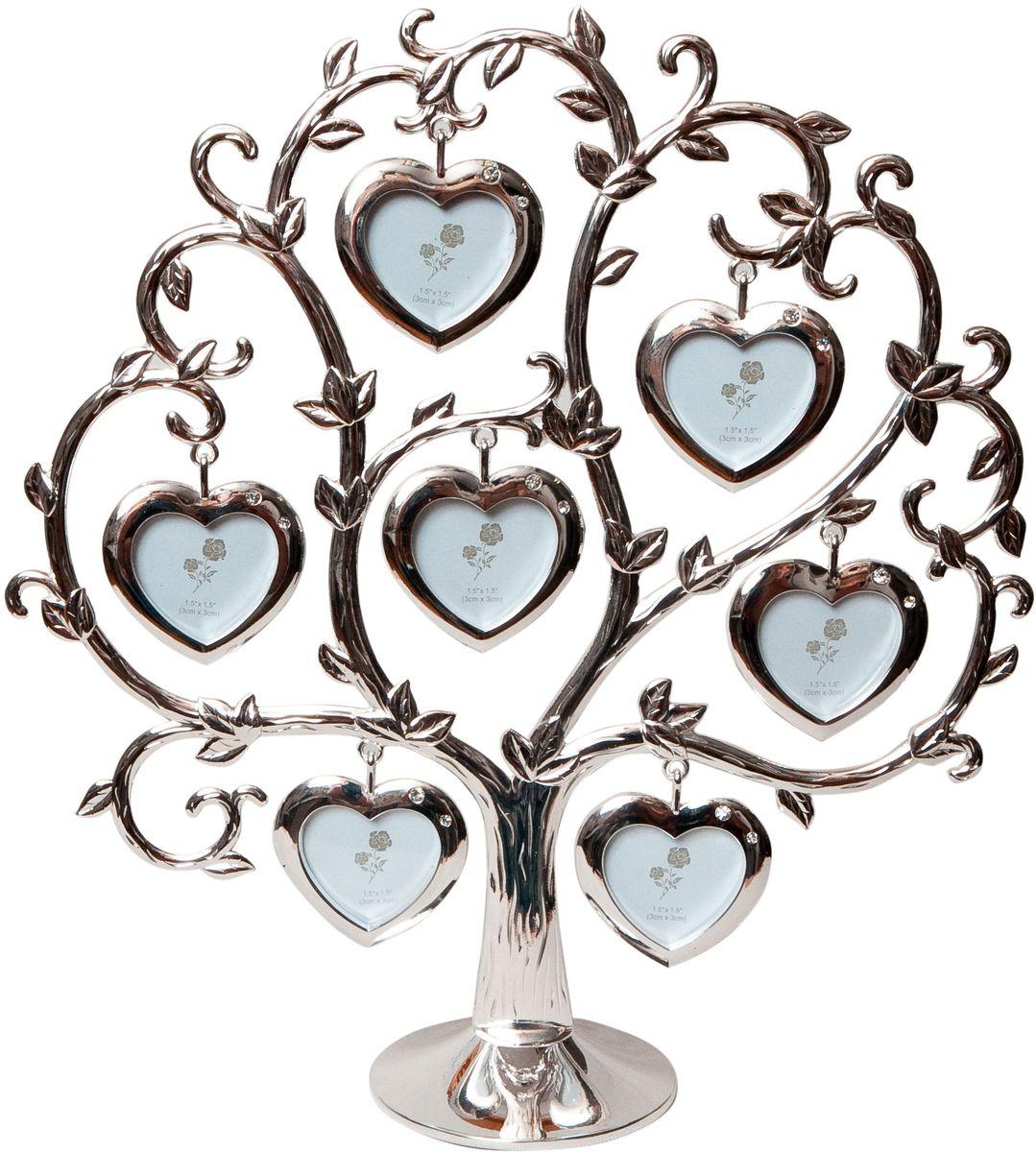 Фоторамка Platinum Дерево. Сердца, цвет: светло-серый, на 7 фото, 4 x 4 см. PF9460CS7 фоторамок на дереве PF9460CSДекоративная фоторамка Platinum Дерево. Сердца выполнена из металла. На подставку в виде деревца подвешиваются семь рамочек в форме сердец, украшенных стразами. Изысканная и эффектная, эта потрясающая рамочка покорит своей красотой и изумительным качеством исполнения. Фоторамка Platinum Дерево. Сердца не только украсит интерьер помещения, но и поможет разместить фото всей вашей семьи. Высота фоторамки: 25 см. Фоторамка подходит для фотографий 4 х 4 см. Общий размер фоторамки: 24 х 5 х 25 см.