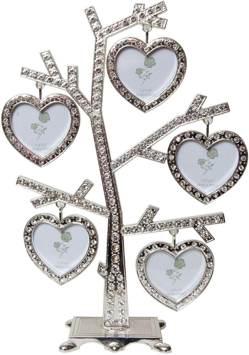 Фоторамка Platinum Дерево, цвет: светло-серый, на 5 фото, 5 x 6 см. PF96315 фоторамок на дереве PF9631Декоративная фоторамка Platinum Дерево выполнена из металла и декорирована стразами. На подставку в виде деревца подвешиваются пять фоторамок в форме сердца. Изысканная и эффектная, эта потрясающая рамочка покорит своей красотой и изумительным качеством исполнения. Декоративная фоторамка Platinum Дерево не только украсит интерьер помещения, но и поможет разместить фото всей вашей семьи. Высота фоторамки: 24 см. Фоторамка подходит для фотографий 5 x 6 см. Общий размер фоторамки: 18 х 4 х 24 см.