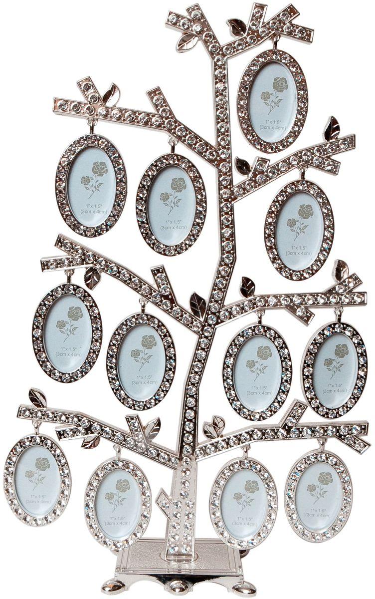 Фоторамка Platinum Дерево, цвет: светло-серый, на 12 фото, 4 x 5 см. PF963812 фоторамок на дереве PF9638Декоративная фоторамка Platinum Дерево выполнена из металла и декорирована стразами. На подставку в виде деревца подвешиваются двенадцать овальных рамочек. Изысканная и эффектная, эта потрясающая рамочка покорит своей красотой и изумительным качеством исполнения. Декоративная фоторамка Platinum Дерево не только украсит интерьер помещения, но и поможет разместить фото всей вашей семьи. Высота фоторамки: 29 см. Фоторамка подходит для фотографий 4 x 5 см. Общий размер фоторамки: 19,5 х 5 х 29 см.
