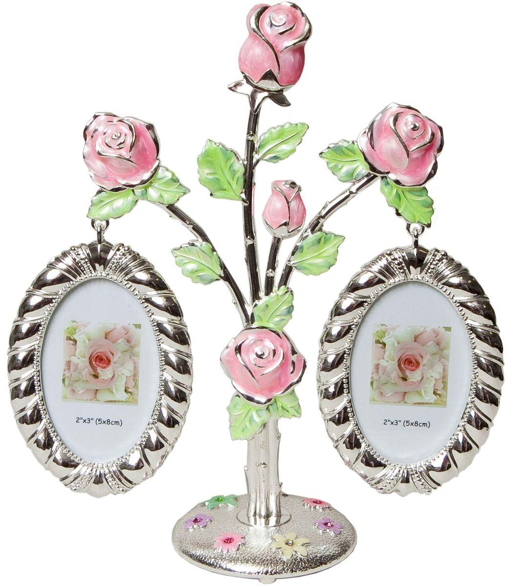 "Фоторамка Platinum ""Дерево. Цветы"", цвет: светло-серый, на 2 фото, 5 x 8 см. PF9675AP 2 фоторамки на дереве PF9675AP"
