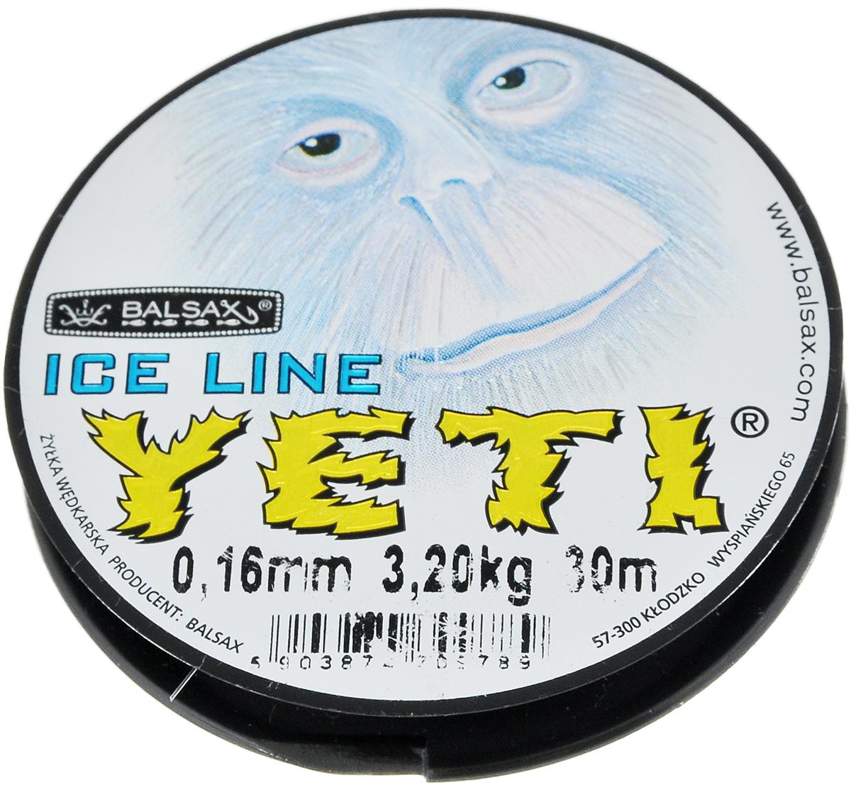 Леска зимняя Balsax Yeti, 30 м, 0,16 мм, 3,2 кг310-14016Леска зимняя Balsax Yeti изготовлена из 100% нейлона и очень хорошо выдерживает низкие температуры. Поверхность лески обработана таким образом, что она не обмерзает и отлично подходит для подледного лова. Прочна в местах вязки узлов даже при минимальном диаметре.