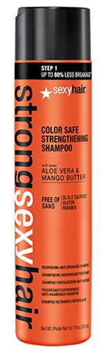 Sexy Hair Шампунь для прочности волос Strong, 300 мл4605845001449Шампунь с маслом манго, экстрактом алоэ вера и комплексом аминокислот обеспечивает ломким и возрастным волосам невероятную прочность и предотвращает ломкость до 80% уже после первого применения! Бережно очищает, сохраняя цвет окрашенных волос. Подходит для ежедневного применения.