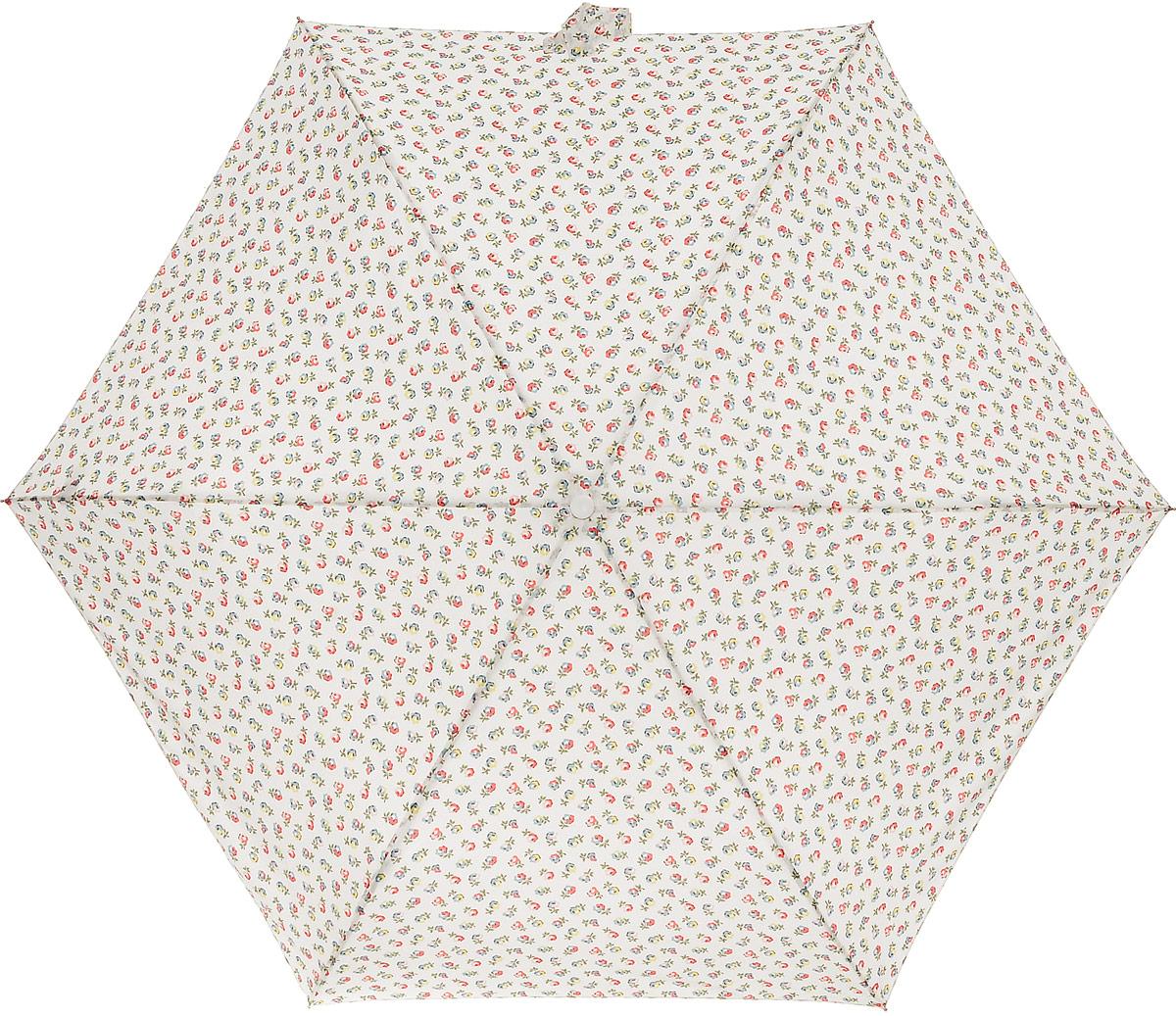 Зонт женский Cath Kidston Minilite, механический, 3 сложения, цвет: молочный, мультиколор. L768-2851L768-2851 ElginDitsyCreamСтильный механический зонт Cath Kidston Minilite в 3 сложения даже в ненастную погоду позволит вам оставаться элегантной. Облегченный каркас зонта выполнен из 8 спиц из фибергласса и алюминия, стержень также изготовлен из алюминия, удобная рукоятка - из пластика. Купол зонта выполнен из прочного полиэстера. В закрытом виде застегивается хлястиком на липучке. Яркий оригинальный цветочный принт поднимет настроение в дождливый день. Зонт механического сложения: купол открывается и закрывается вручную до характерного щелчка. На рукоятке для удобства есть небольшой шнурок, позволяющий надеть зонт на руку тогда, когда это будет необходимо. К зонту прилагается чехол с небольшой нашивкой с названием бренда. Такой зонт компактно располагается в кармане, сумочке, дверке автомобиля.