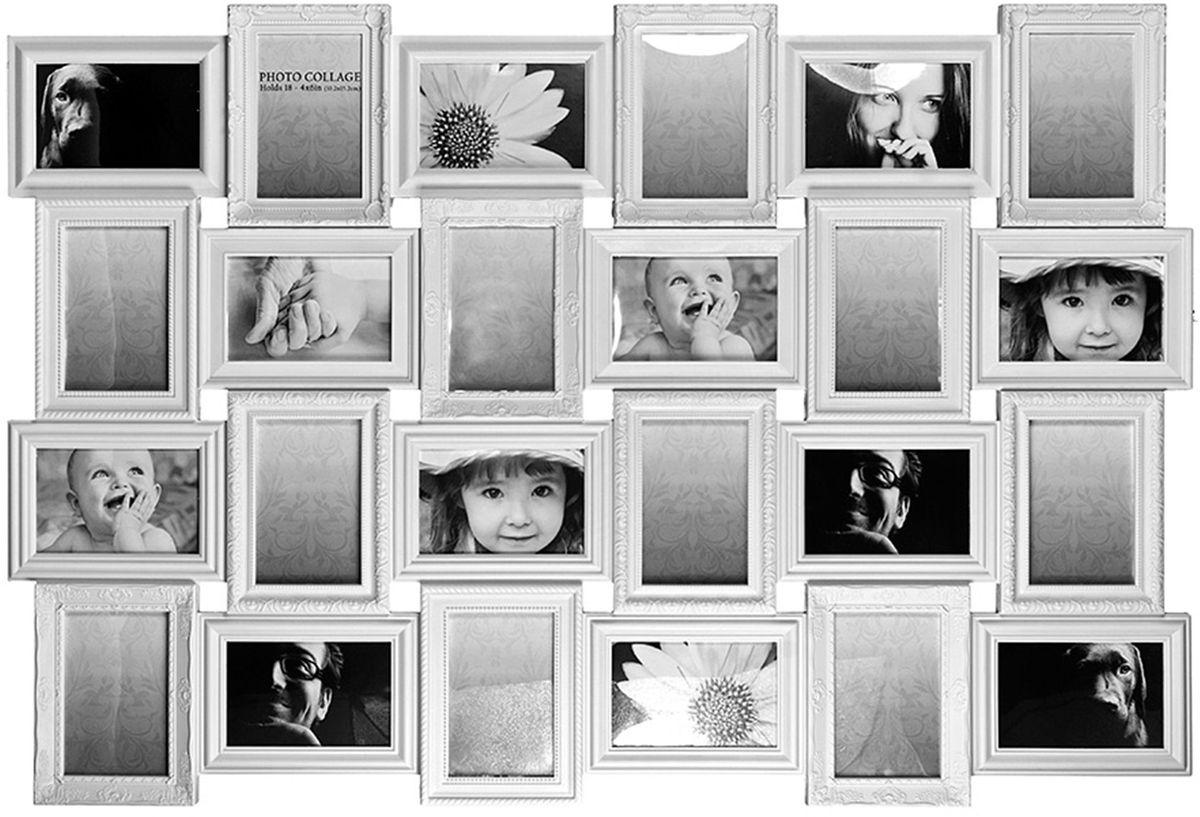 Коллаж Platinum, цвет: белый, 24 фоторамки. BIN-1122953ES-412Пластиковый коллаж с 24 фото 10х15 см.