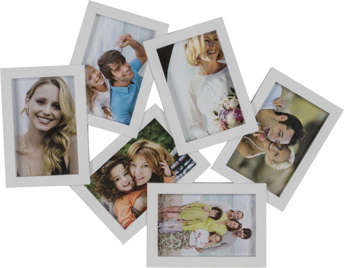 Фоторамка Platinum, цвет: белый, на 6 фото 10 х 15 смUP210DFФоторамка Platinum - прекрасный способ красиво оформить ваши фотографии. Фоторамка выполнена из пластика и защищена стеклом. Фоторамка-коллаж представляет собой шесть фоторамок для фото одного размера оригинально соединенных между собой. Такая фоторамка поможет сохранить в памяти самые яркие моменты вашей жизни, а стильный дизайн сделает ее прекрасным дополнением интерьера комнаты. Фоторамка подходит для фотографий 10 х 15 см.Общий размер фоторамки: 47 х 37 см.