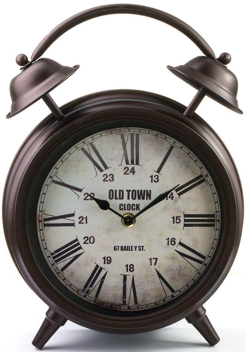 Часы настольные Miralight Будильник, цвет: темная медь54 009303Механические настольные часы Miralight в виде будильника выполнены из металла и полистоуна, прекрасно подойдут под интерьер вашего дома. Круглые часы имеют две стрелки: часовую и минутную, циферблат защищен прозрачным стеклом. Диаметр циферблата: 18 см.Часы работают от 1 батарейки типа АА напряжением 1,5 В (в комплект не входит).