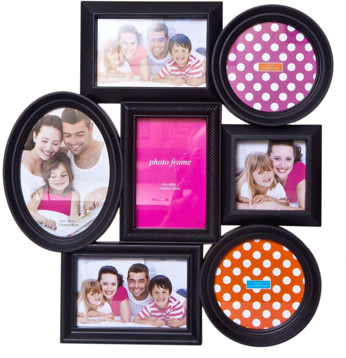 Фоторамка Platinum, цвет: черный, на 7 фото. BH-1307PLATINUM BH-1307-Black-ЧёрныйФоторамка Platinum - прекрасный способ красиво оформить ваши фотографии. Фоторамка выполнена из пластика и защищена стеклом. Фоторамка-коллаж представляет собой семь фоторамок для фото разного размера оригинально соединенных между собой. Такая фоторамка поможет сохранить в памяти самые яркие моменты вашей жизни, а стильный дизайн сделает ее прекрасным дополнением интерьера комнаты. Фоторамка подходит для фото следующих размеров: 13 х 18 см, 3 фото 10 х 15 см, 2 фото 12,7 х 12,7 см и 10 х 10 см. Общий размер фоторамки: 41 х 43 см.