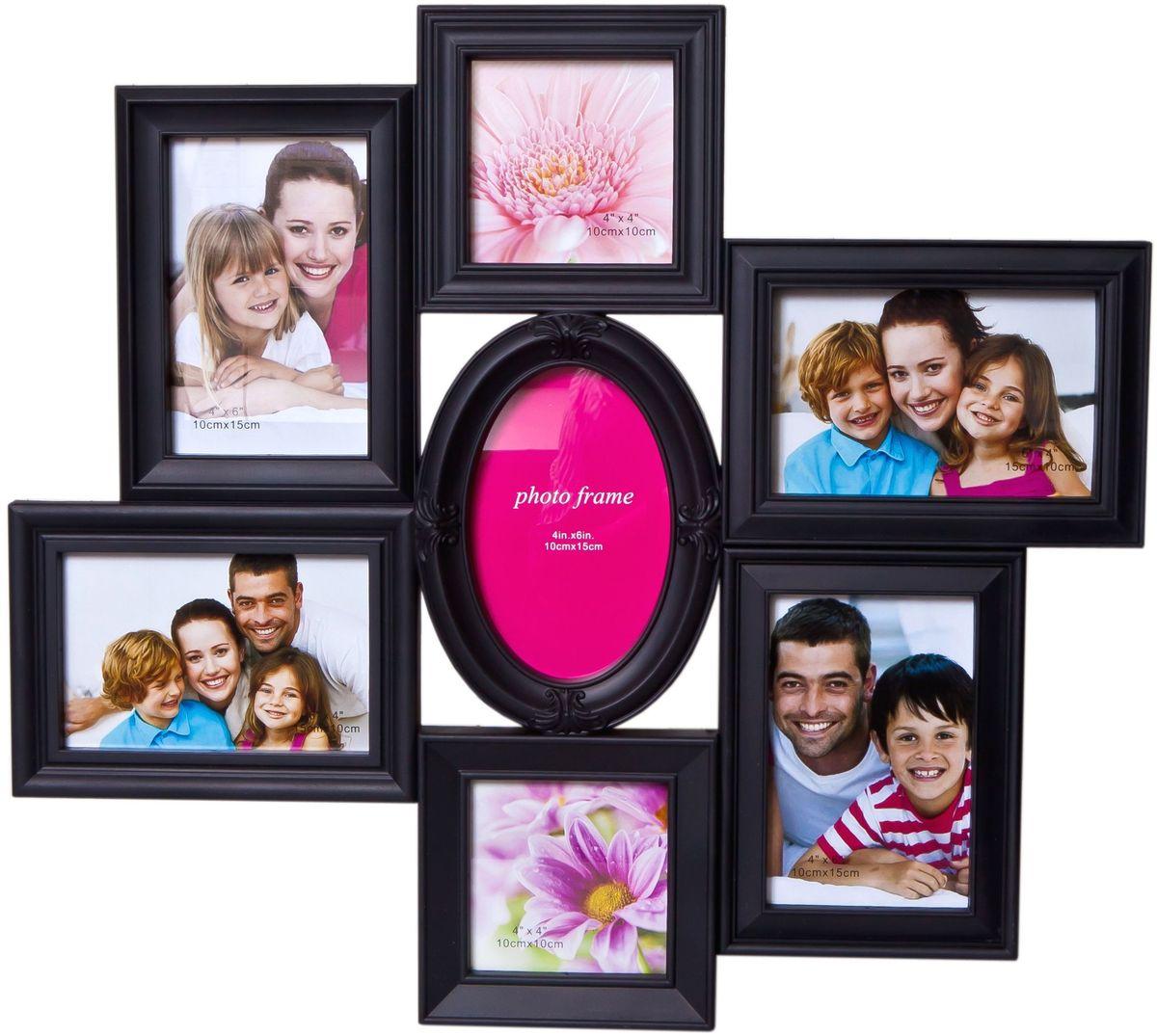 Фоторамка Platinum, цвет: черный, на 7 фото. BH-1313PLATINUM BH-1313-Black-ЧёрныйФоторамка Platinum - прекрасный способ красиво оформить ваши фотографии. Фоторамка выполнена из пластика и защищена стеклом. Фоторамка-коллаж представляет собой семь фоторамок для фото разного размера оригинально соединенных между собой. Такая фоторамка поможет сохранить в памяти самые яркие моменты вашей жизни, а стильный дизайн сделает ее прекрасным дополнением интерьера комнаты. Фоторамка подходит для фото следующих размеров: 2 фото 10 х 10 см и 5 фото 10 х 15 см. Общий размер фоторамки: 50 х 45 см.