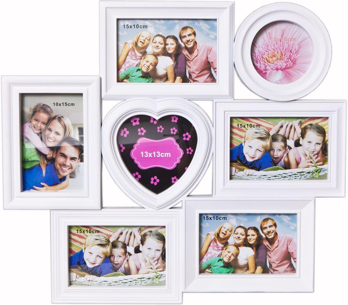 Фоторамка Platinum, цвет: белый, на 7 фото. BH-1317PLATINUM BH-1317-White-БелыйФоторамка Platinum - прекрасный способ красиво оформить ваши фотографии. Фоторамка выполнена из пластика и защищена стеклом. Фоторамка-коллаж представляет собой семь фоторамок для фото разного размера оригинально соединенных между собой. Такая фоторамка поможет сохранить в памяти самые яркие моменты вашей жизни, а стильный дизайн сделает ее прекрасным дополнением интерьера комнаты. Фоторамка подходит для 1 фото 10 х 10 см, 5 фото 10 х 15 см и 1 фото 13 х 13 см. Общий размер фоторамки: 49 х 43 см.