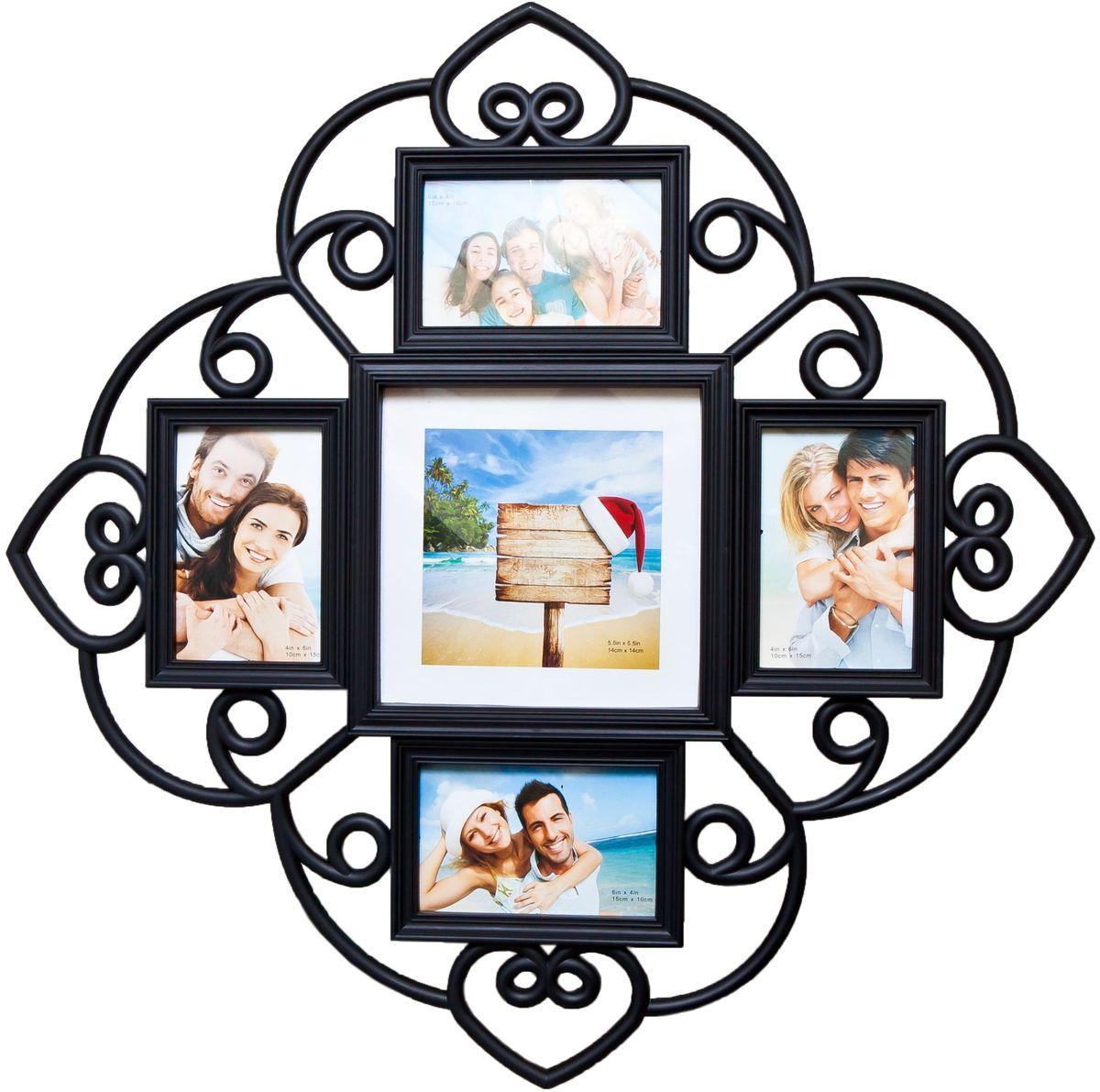 Фоторамка Platinum, цвет: черный, на 5 фото. BH-1405ES-412Фоторамка Platinum - прекрасный способ красиво оформить ваши фотографии. Фоторамка выполнена из пластика и защищена стеклом. Фоторамка-коллаж представляет собой пять фоторамок для фото разного размера оригинально соединенных между собой. Такая фоторамка поможет сохранить в памяти самые яркие моменты вашей жизни, а стильный дизайн сделает ее прекрасным дополнением интерьера комнаты. Фоторамка подходит для 4 фото 10 х 15 см и 1 фото 14 х 14 см.Общий размер фоторамки: 53 х 53 см.