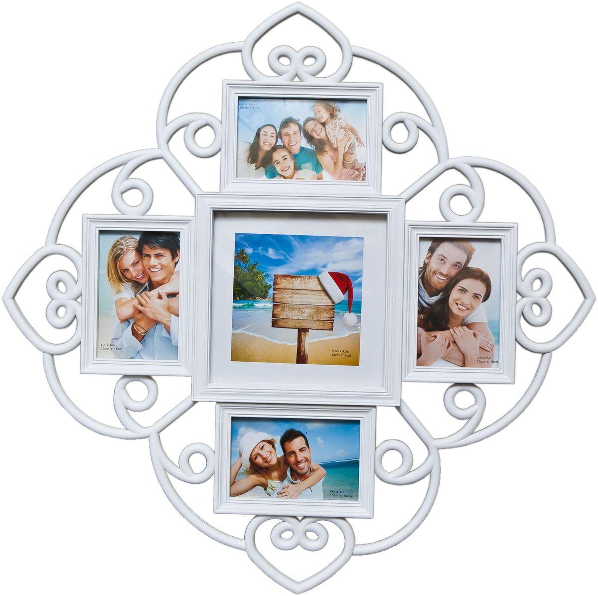 Фоторамка Platinum, цвет: белый, на 5 фото. BH-1405UP210DFФоторамка Platinum - прекрасный способ красиво оформить ваши фотографии. Фоторамка выполнена из пластика и защищена стеклом. Фоторамка-коллаж представляет собой пять фоторамок для фото разного размера оригинально соединенных между собой. Такая фоторамка поможет сохранить в памяти самые яркие моменты вашей жизни, а стильный дизайн сделает ее прекрасным дополнением интерьера комнаты. Фоторамка подходит для 4 фото 10 х 15 см и 1 фото 14 х 14 см.Общий размер фоторамки: 53 х 53 см.