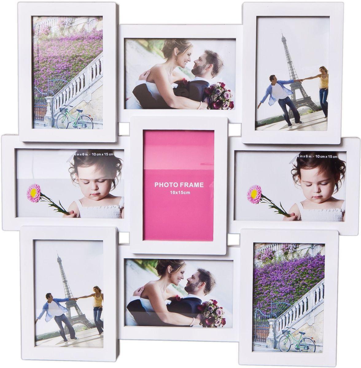 Фоторамка Platinum, цвет: белый, на 9 фото 10 х 15 см. BH-2209PLATINUM BH-2209B-White-БелыйФоторамка Platinum - прекрасный способ красиво оформить ваши фотографии. Фоторамка выполнена из пластика и защищена стеклом. Фоторамка-коллаж представляет собой девять фоторамок для фото одного размера оригинально соединенных между собой. Такая фоторамка поможет сохранить в памяти самые яркие моменты вашей жизни, а стильный дизайн сделает ее прекрасным дополнением интерьера комнаты. Фоторамка подходит для фотографий 10 х 15 см. Общий размер фоторамки: 44 х 44 см.
