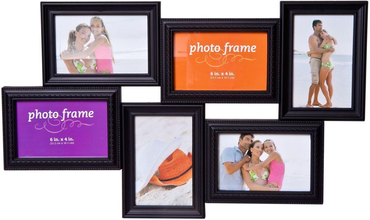 Фоторамка Platinum, цвет: черный, на 6 фото. BH-2306ES-412Фоторамка Platinum - прекрасный способ красиво оформить ваши фотографии. Фоторамка выполнена из пластика и защищена стеклом. Фоторамка-коллаж представляет собой шесть фоторамок для фото разного размера оригинально соединенных между собой. Такая фоторамка поможет сохранить в памяти самые яркие моменты вашей жизни, а стильный дизайн сделает ее прекрасным дополнением интерьера комнаты. Фоторамка подходит для 3 фото 10 х 15 см и 3 фото 15 х 10 см.Общий размер фоторамки: 54 х 32 см.