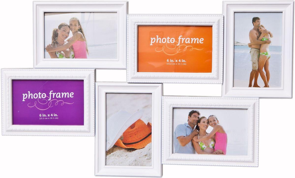 Фоторамка Platinum, цвет: белый, на 6 фото. BH-2306PLATINUM BH-2306-White-БелыйФоторамка Platinum - прекрасный способ красиво оформить ваши фотографии. Фоторамка выполнена из пластика и защищена стеклом. Фоторамка-коллаж представляет собой шесть фоторамок для фото разного размера оригинально соединенных между собой. Такая фоторамка поможет сохранить в памяти самые яркие моменты вашей жизни, а стильный дизайн сделает ее прекрасным дополнением интерьера комнаты. Фоторамка подходит для 3 фото 10 х 15 см и 3 фото 15 х 10 см. Общий размер фоторамки: 54 х 32 см.