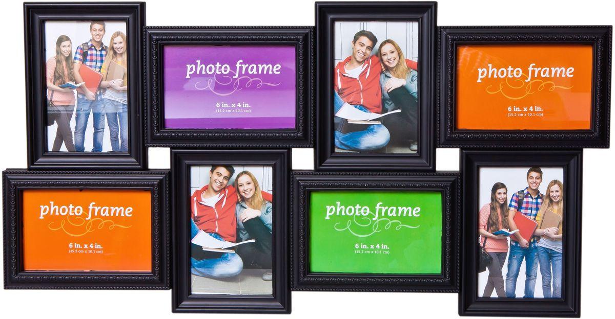 Фоторамка Platinum, цвет: черный, на 8 фотоPLATINUM BH-2308-Black-ЧёрныйФоторамка Platinum - прекрасный способ красиво оформить ваши фотографии. Фоторамка выполнена из пластика и защищена стеклом. Фоторамка-коллаж представляет собой восемь фоторамок для фото разного размера оригинально соединенных между собой. Такая фоторамка поможет сохранить в памяти самые яркие моменты вашей жизни, а стильный дизайн сделает ее прекрасным дополнением интерьера комнаты. Фоторамка подходит для 4 фото 10 х 15 см, 4 фото 15 х 10 см. Общий размер фоторамки: 63 х 33 см.