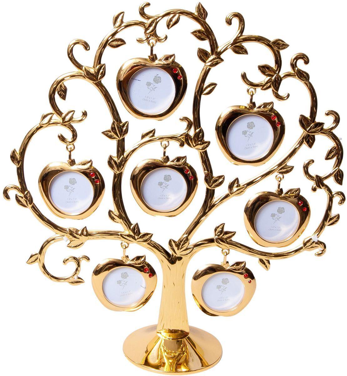 Фоторамка Platinum Дерево. Яблоки, цвет: золотистый, на 7 фото, 4 x 4 см. PF9460ASG7 фоторамок на дереве PF9460ASG GOLDДекоративная фоторамка Platinum Дерево. Яблоки выполнена из металла. На подставку в виде деревца подвешиваются семь фоторамок в форме яблок, украшенных стразами. Изысканная и эффектная, эта потрясающая рамочка покорит своей красотой и изумительным качеством исполнения. Фоторамка Platinum Дерево. Яблоки не только украсит интерьер помещения, но и поможет разместить фото всей вашей семьи. Высота фоторамки: 26 см. Фоторамка подходит для фотографий 4 х 4 см. Общий размер фоторамки: 23,5 х 5 х 26 см.