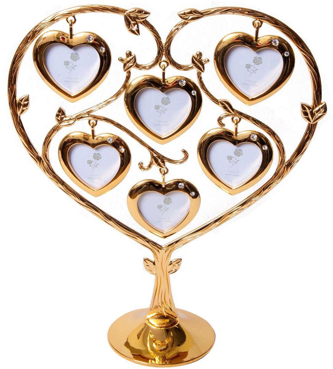 Фоторамка Platinum Дерево. Сердца, цвет: золотистый, на 6 фото, 4 x 5 см. PF9902SGUP210DFДекоративная фоторамка Platinum Дерево. Сердца выполнена из металла. На подставку в виде деревца подвешиваются шесть фоторамок в форме сердец. Фоторамка украшена стазами. Изысканная и эффектная, эта потрясающая рамочка покорит своей красотой и изумительным качеством исполнения. Фоторамка Platinum Дерево. Сердца не только украсит интерьер помещения, но и поможет разместить фото всей вашей семьи. Высота фоторамки: 25,5 см. Фоторамка подходит для фотографий 4 x 5 см.Общий размер фоторамки: 22 х 6 х 25,5 см.