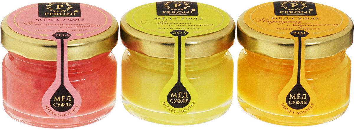 Peroni Коктейли мед-суфле подарочный набор, 3 шт по 30 г0120710Медовые коктейли - это новинка в мире меда. Взрывная клюква, солнечный абрикос, и освежающая мелисса поражают своими вкусами. В их составе только натуральные и полезные ингредиенты, которые превращают мед в изысканное лакомство.Уважаемые клиенты! Обращаем ваше внимание, что полный перечень состава продукта представлен на дополнительном изображении.Уважаемые клиенты! Обращаем ваше внимание, что вкусы меда в ассортименте. Поставка возможна в зависимости от наличия на складе.