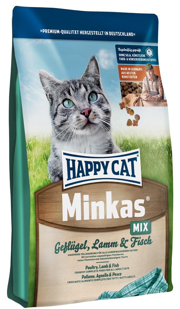 Корм сухой Happy Cat Minkas Mix для взрослых кошек, с птицей, ягненком и рыбой, 1,5 кг0120710Happy Cat Minkas Mix - это полноценный базовый корм для взрослых кошек. Благодаря ценным белкам из мяса птицы, ягненка и рыбы, отсутствию сои и высококачественным хрустящим злаковым составляющим этот продукт нравится кошкам и легко усваивается.Состав: птица (24,5%), пшеничная мука, пшеница, кукуруза, птичий жир (5%), рыба (2,5%), ягненок (2,5%), картофельный белок, свекловичный жом (без сахара), гемоглобин, масло из семян подсолнечника, яблочная пульпа. Аналитические составляющие: протеин - 30%, жир - 12%, клетчатка - 2,5%, зола - 6,5%. Добавки: витамин А - 15000 МЕ, Витамин D3 - 1250 МЕ, таурин - 1000 МЕ. Товар сертифицирован.