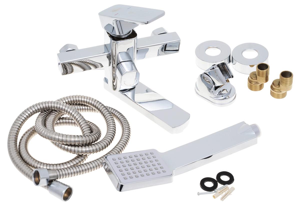 Смеситель для ванны и душа РМС, с коротким изливом, цвет: хром. SL43-009ESL43-009EОдноручковый смеситель для ванны и душа РМС выполнен из высококачественной латуни с хромированным покрытием. Предназначен для смешивания холодной и горячей воды, устанавливается в ванну и душ. Смеситель имеет рычаг-переключатель воды ванна/душ, а также латунный кран-букс, короткий излив и пластиковый аэратор. В комплект входят 2 эксцентрика, 2 отражателя, металлический шланг для душа, лейка для душа, держатель для лейки и 4 резиновых уплотнителя. Длина шланга для душа: 1,5 м. Длина излива: 11 см. Размер лейки для душа: 23 х 6,3 х 3,2 см. Размер корпуса: 19 х 15,5 х 15,5 см.
