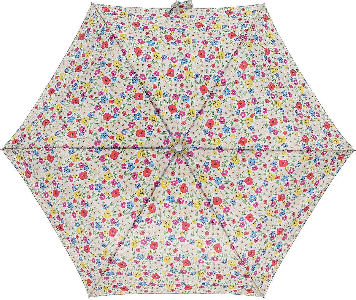 Зонт женский Cath Kidston Minilite, механический, 3 сложения, цвет: белый, мультиклор. L768-2952L768-2952 ParadiseFieldChalkСтильный механический зонт Cath Kidston Minilite в 3 сложения даже в ненастную погоду позволит вам оставаться элегантной. Облегченный каркас зонта выполнен из 8 спиц из фибергласса и алюминия, стержень также изготовлен из алюминия, удобная рукоятка - из пластика. Купол зонта выполнен из прочного полиэстера. В закрытом виде застегивается хлястиком на липучке. Яркий оригинальный цветочный принт поднимет настроение в дождливый день. Зонт механического сложения: купол открывается и закрывается вручную до характерного щелчка. На рукоятке для удобства есть небольшой шнурок, позволяющий надеть зонт на руку тогда, когда это будет необходимо. К зонту прилагается чехол с небольшой нашивкой с названием бренда. Такой зонт компактно располагается в кармане, сумочке, дверке автомобиля.