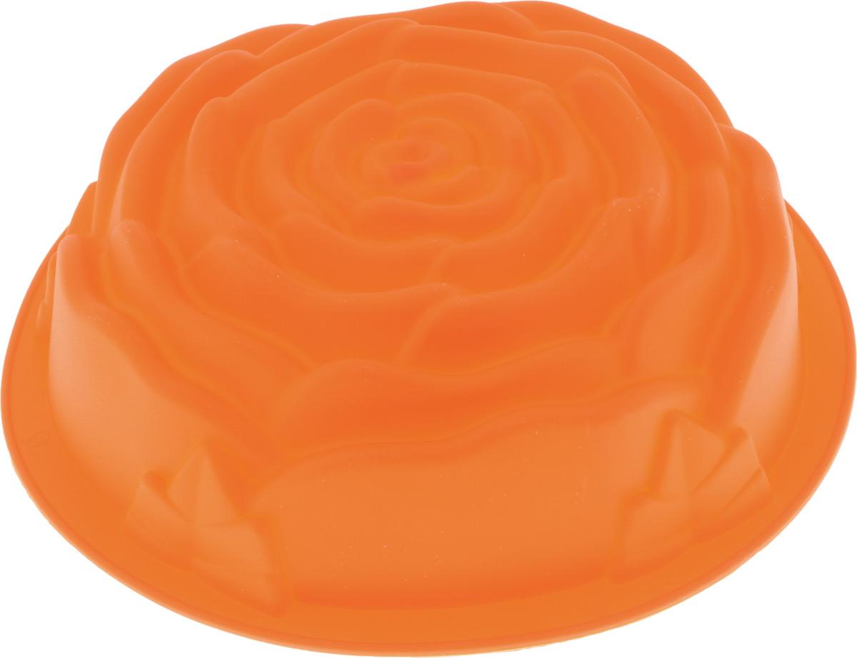 Форма для выпечки Paterra Роза, силиконовая, цвет: оранжевый, диаметр 24 см94672Форма для выпечки Paterra Роза изготовлена из высококачественного силикона, который характеризуется термостойкостью (выдерживает температуру от -40°С до +250°С), обладает повышенной прочностью, эластичностью, инертностью к запахам, не токсичен. Силиконовые формы пригодны как для запекания в духовых шкафах всех типов и в микроволновых печах, так и для замораживания при очень низких температурах. Силикон не позволяет прилипать или пригорать продуктам и не требует смазывания маслом перед выпечкой. Так как форма гибкая, то это позволяет легко извлекать выпечку/лед любой формы без применения ножа, достаточно вывернуть форму наизнанку. Форма идеальна для приготовления выпечки, льда, желе, мороженого, холодца, зефира, шоколада, мармелада. Порадуйте своих родных и близких любимой выпечкой в необычном исполнении. Можно использовать в духовке, СВЧ, морозильной камере и мыть в посудомоечной машине. Диаметр формы: 24 см.Высота стенки: 6,5 см.