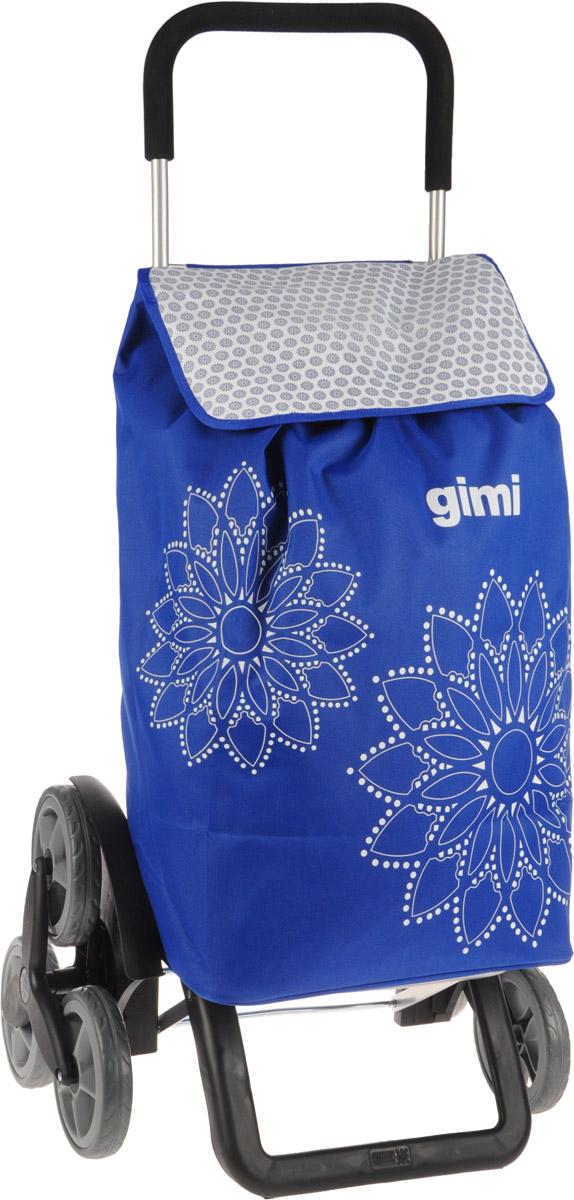 Сумка-тележка Gimi Tris Floral, цвет: синий, белый, 56 л1507935000000Хозяйственная сумка-тележка Gimi Tris Floral выполнена из высококачественного полиэстера со стальным каркасом. Она оснащена одним вместительным отделением, закрывающимся на шнурок. Снаружи имеется карман на застежке-молнии и маленькая ручка для пристегивания к тележке супермаркета. Сумка водоустойчива, оснащена тремя парами колес, которые обеспечивают удобство транспортировки. Для компактного хранения сумку можно сложить. Максимальная нагрузка: 30 кг.