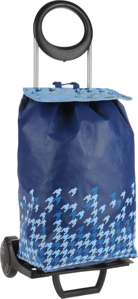 Сумка-тележка Gimi Ideal, цвет: синий, голубой, 50 лIR-F1-WХозяйственная сумка-тележка Gimi Ideal выполнена из высококачественного полипропилена со стальным каркасом. Она оснащена одним вместительным отделением, закрывающимся на шнурок. Снаружи имеется карман на застежке-молнии, а также подставка для зонтика. Сумка водоустойчива, оснащена парой колес, которые обеспечивают удобство транспортировки. Для компактного хранения сумку можно сложить. Изделие можно использовать без сумки как универсальную тележку. Максимальная нагрузка: 30 кг.