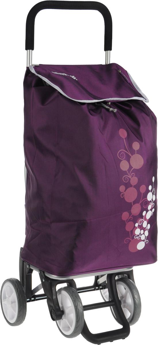 Сумка-тележка Gimi Twin, цвет: сливовый, 56 л1508035011000Хозяйственная сумка-тележка Gimi Twin выполнена из высококачественного полиэстера со стальным каркасом. Она оснащена одним вместительным отделением, закрывающимся на шнурок. Имеется карман на застежке-молнии и маленькая ручка для пристегивания к тележке супермаркета. Сумка водоустойчива, оснащена двумя парами колес, которые обеспечивают удобство транспортировки. Для компактного хранения сумку можно сложить. Максимальная нагрузка: 30 кг.