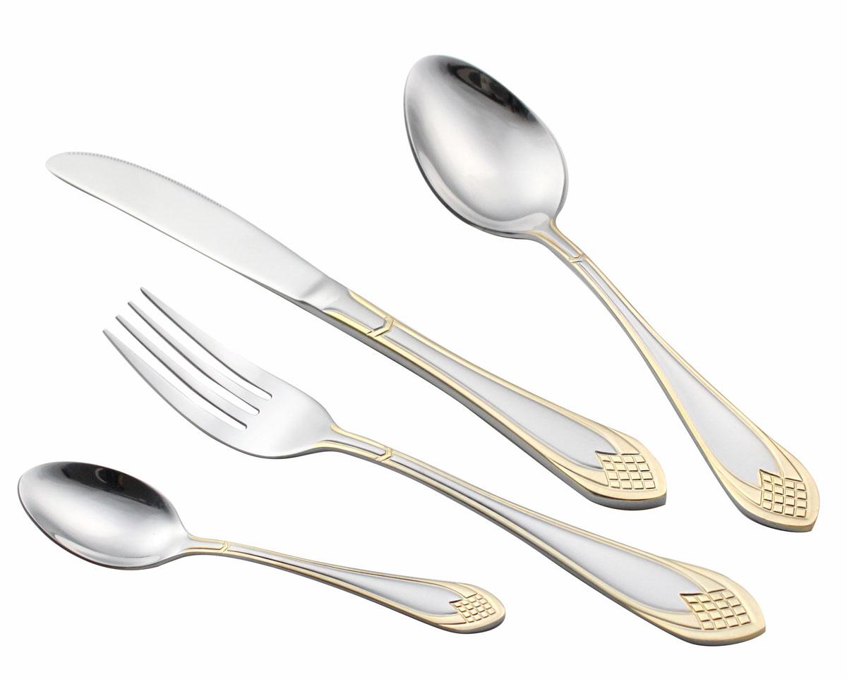 Набор столовых приборов Bravo, 72 предмета. 131-A72GS115610В набор входит: 12 столовых ложек, 12 столовых вилок, 12 чайных ложек, 12 десертных вилок, 12 столовых ножей, 2 вилки для мяса, 2 сервировочные ложки, 1 ложка для салата, 1 вилка для салата, 1 лопатка для пирожных, 1 ложка для сахара, 1 щипчики для сахара, 1 ложка для супа, 1 маленький половник, 1 большой половник. Состав: сталь 18/10. Объём изделия: 0,0133 м3. Размер упаковки: 48,5 х 33 х 9,5 см. Вес изделия в упаковке: 3,350 кг.